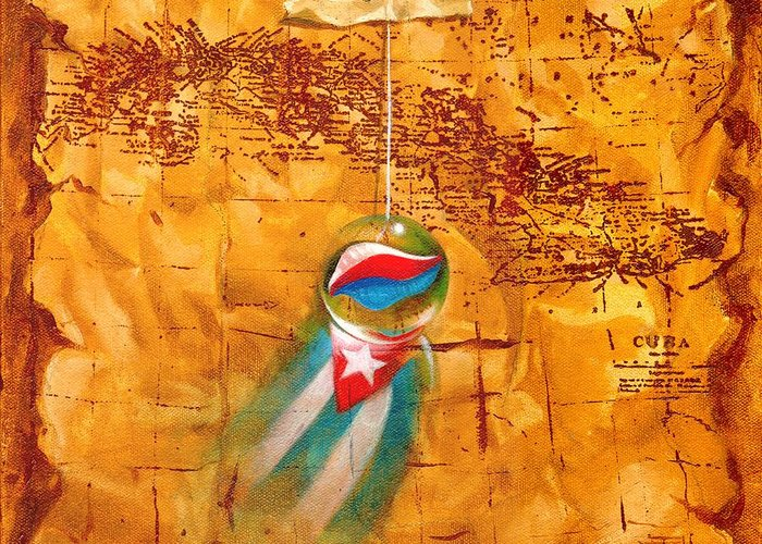 Marble Hanging By A String Greeting Card featuring the painting Colgando En Un Hilito by Roger Calle