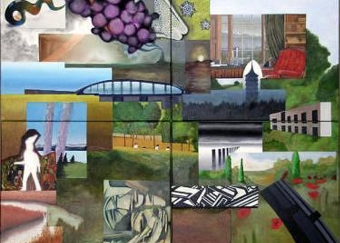 Collage Greeting Card featuring the painting Collage No.1 by Benjamin Dunstan