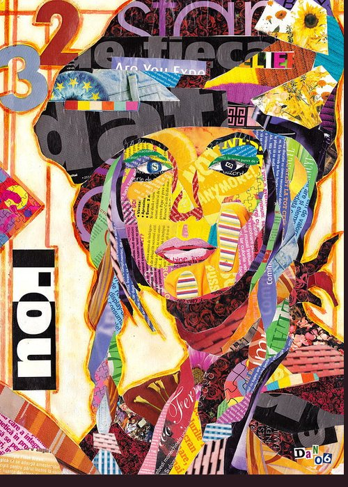 Collage Greeting Card featuring the mixed media Collage Portrait by Oprisor Dan