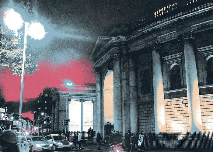 Bank Of Ireland Greeting Card featuring the mixed media College Green, Dublin by Shay Culligan
