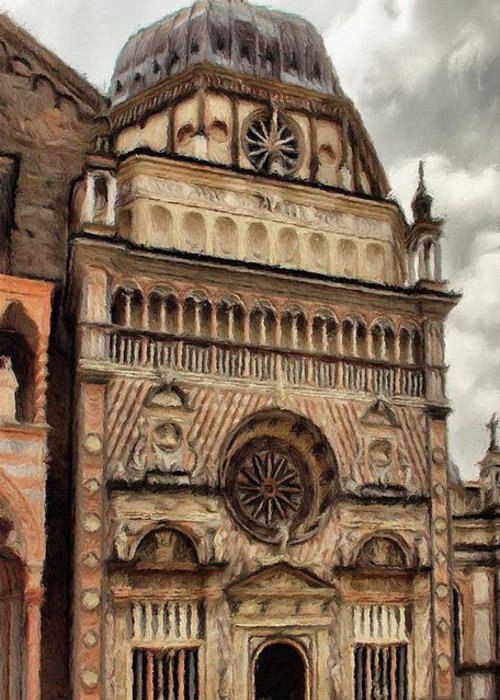 Chapel Greeting Card featuring the painting Colleoni Chapel by Jeffrey Kolker