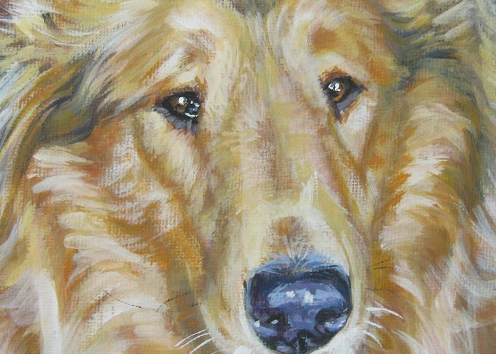 Collie Greeting Card featuring the painting Collie Close Up by Lee Ann Shepard