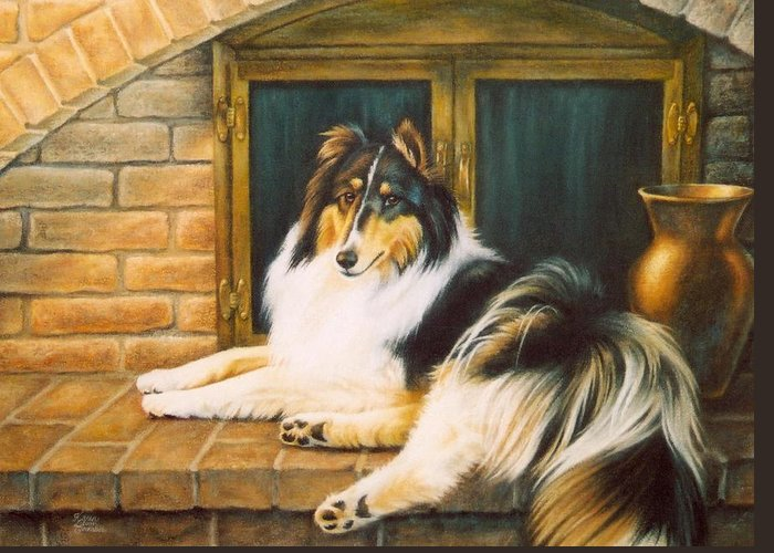 Dog Greeting Card featuring the pastel Collie On The Hearth by Karen Coombes