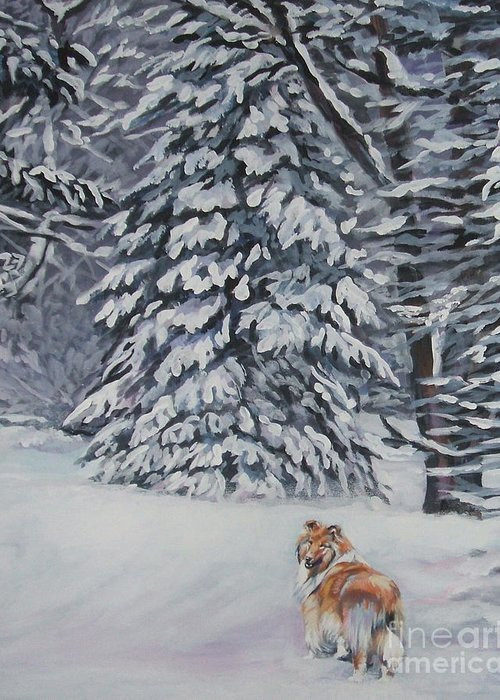 Collie Greeting Card featuring the painting Collie Sable Christmas Tree by Lee Ann Shepard