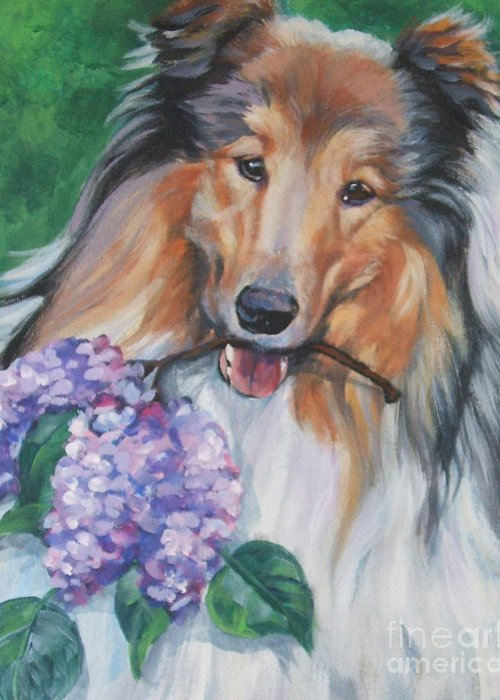Collie Greeting Card featuring the painting Collie With Lilacs by Lee Ann Shepard