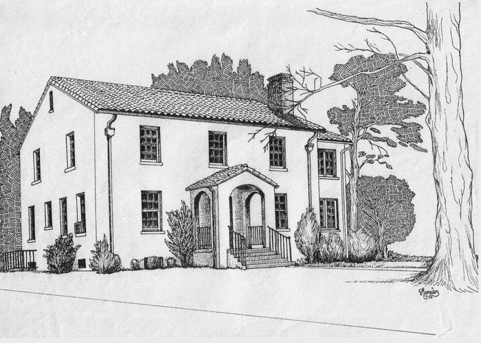 Drawing - Pen And Ink Greeting Card featuring the drawing Colonel Quarters 2 - Fort Benning GA by Marco Morales