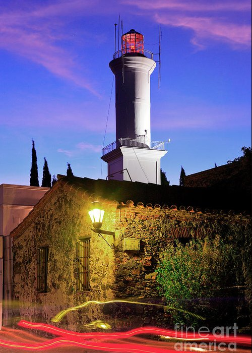 Colonia Del Sacramento Greeting Card featuring the photograph Colonia Lighthouse by Bernardo Galmarini