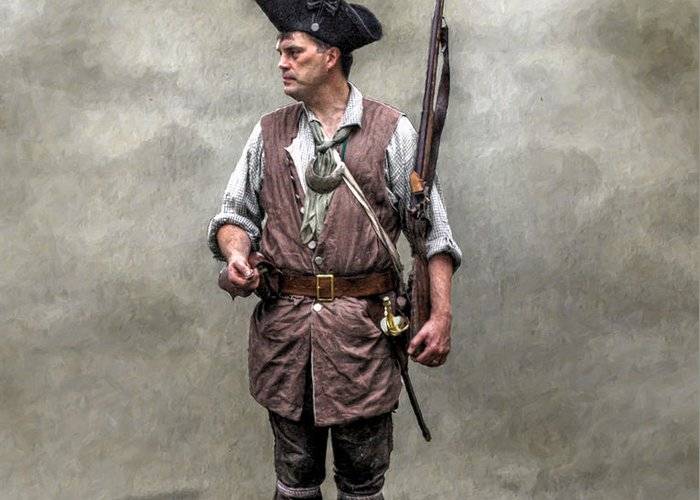 Seven Years War Greeting Card featuring the digital art Colonial Militia Soldier 1777 by Randy Steele