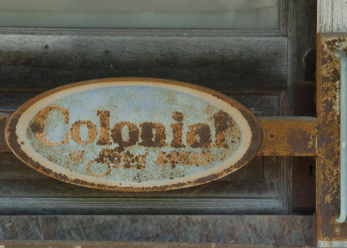 Sign Greeting Card featuring the photograph Colonial Sign Detail by Jon Benson