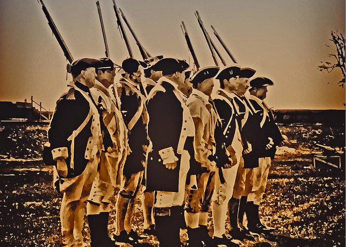 Philadelphia Greeting Card featuring the photograph Colonial Soldiers On Parade by Bill Cannon