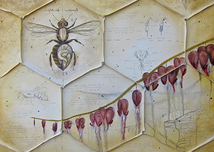 Bees Greeting Card featuring the painting Colony Collapse Disorder by K Llamas