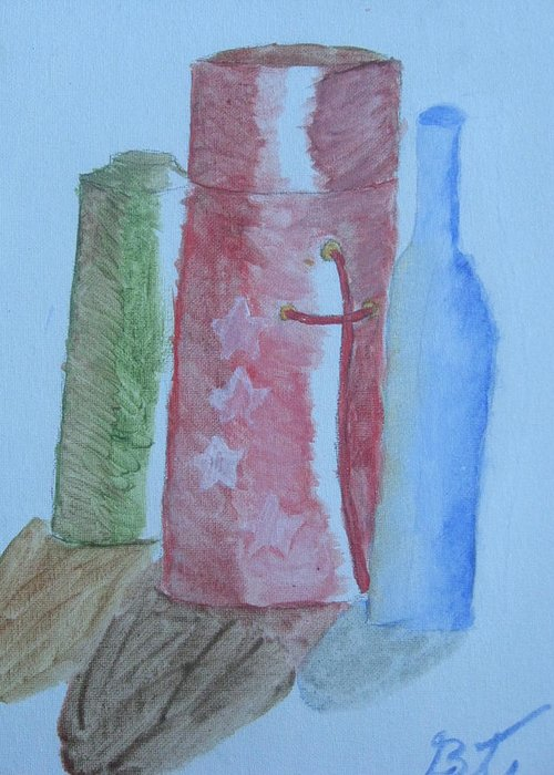 Acrylic Still Life Bottles Greeting Card featuring the painting Color And Shading by Brianna Emily Thompson