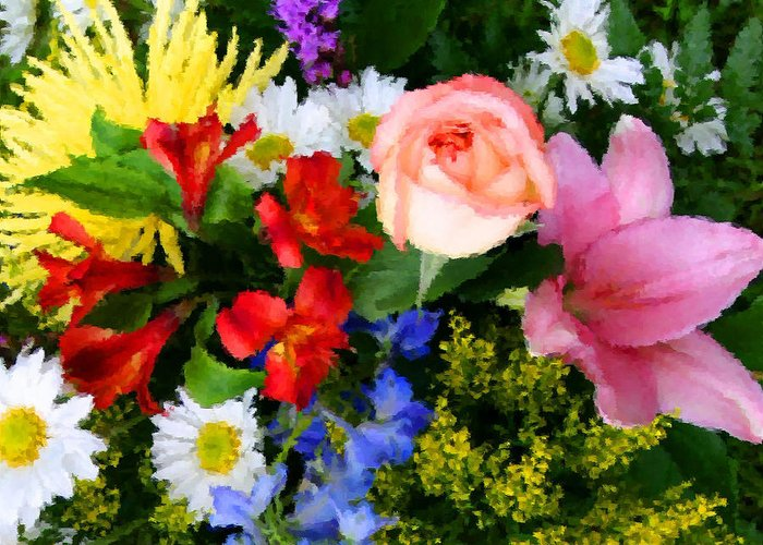 Flowers Greeting Card featuring the digital art Color Explosion by Kristin Elmquist
