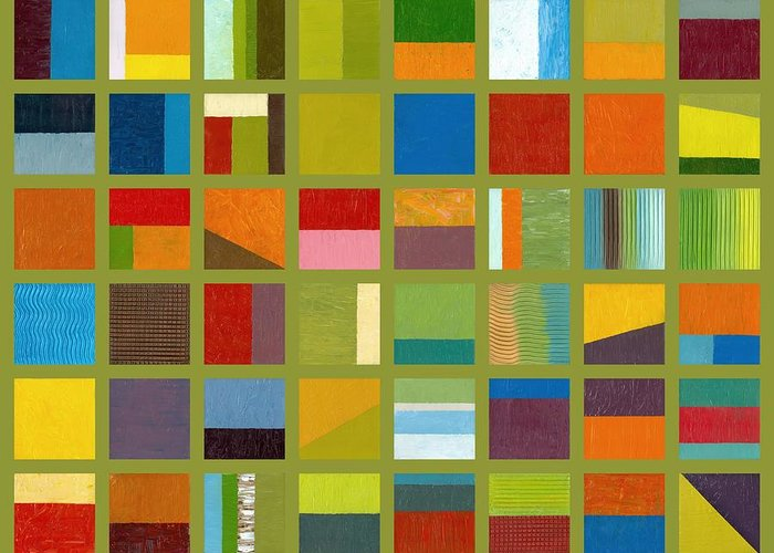 Abstract Greeting Card featuring the painting Color Study Collage 64 by Michelle Calkins