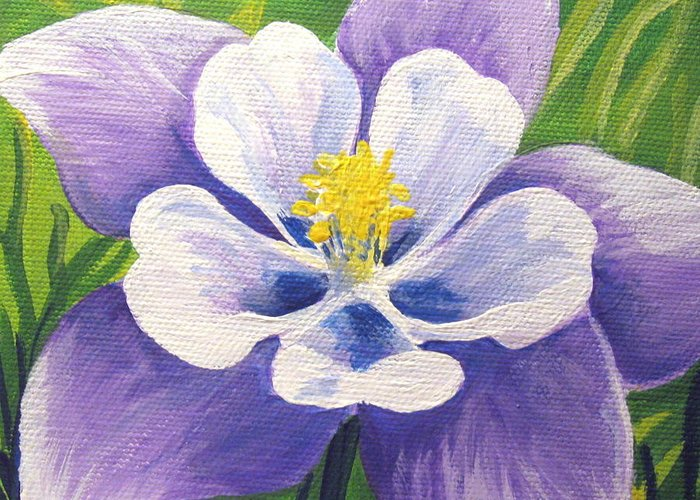 Columbine Greeting Card featuring the painting Colorado Columbine by Sharon Marcella Marston