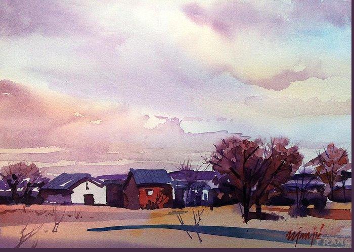 Colorado Farm Landscape Greeting Card featuring the painting Colorado Farm by Ugljesa Janjic
