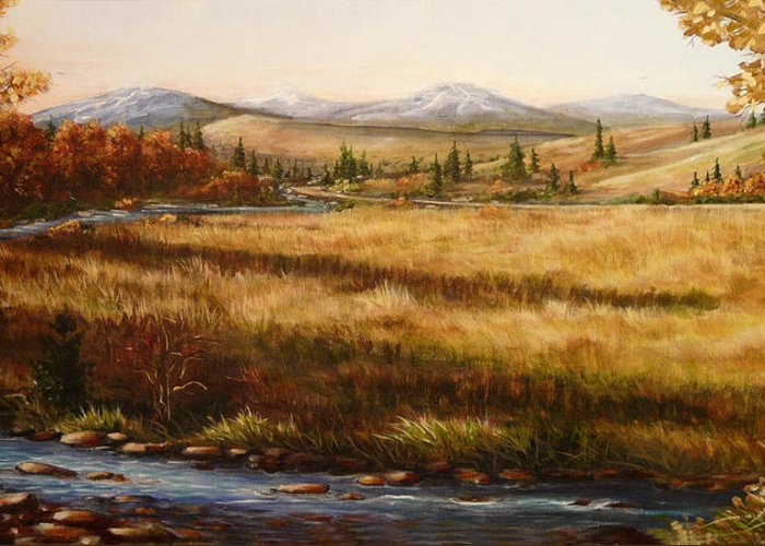 Meadow Greeting Card featuring the painting Colorado Meadow Morning by Ellen Leigh
