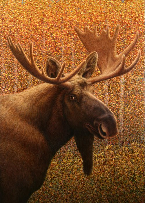 Moose Greeting Card featuring the painting Colorado Moose by James W Johnson