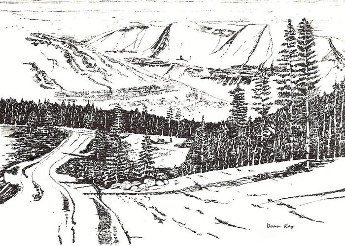 Colorado Mountains Snow Ink Drawing Greeting Card featuring the drawing Colorado Mountain Foothills by Donn Kay