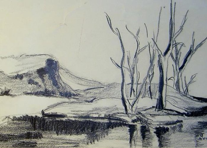 Landscape greeting card featuring the drawing colorado pencil sketch by judith redman