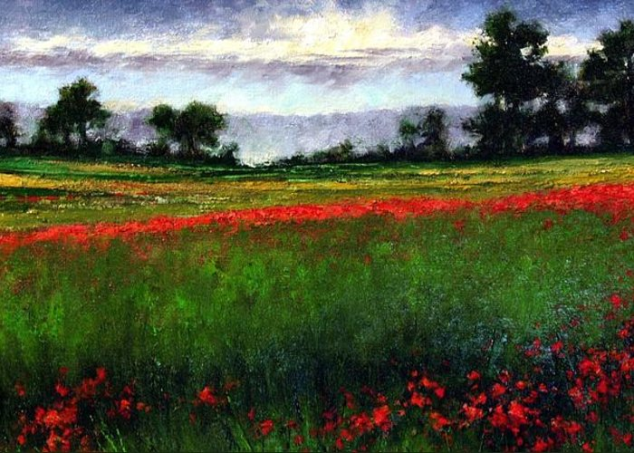 Landscape Greeting Card featuring the painting Colorburst by Jim Gola