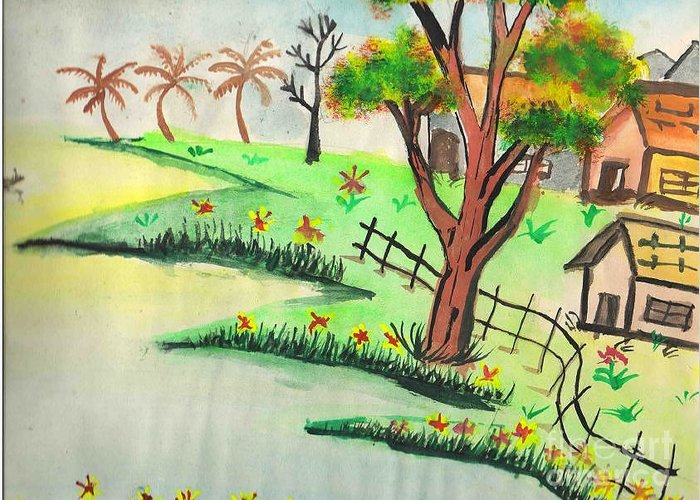 Beautiful Landscape Greeting Card featuring the painting Colored Landscape by Tanmay Singh