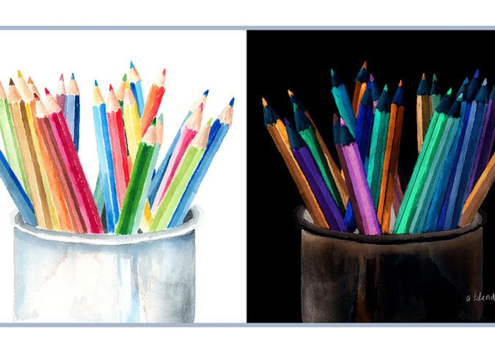 Colored Pencils Greeting Card featuring the painting Colored Pencils - The Positive And The Negative by Arline Wagner
