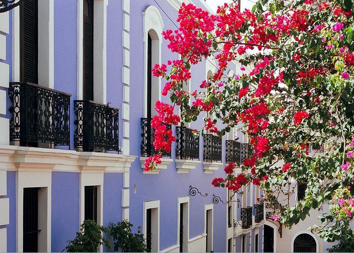 Architecture Greeting Card featuring the photograph Colorful Balconies Of Old San Juan Puerto Rico by George Oze