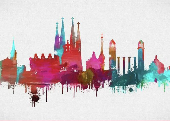 colorful barcelona skyline silhouette greeting card for sale by dan sproul colorful barcelona skyline silhouette greeting card