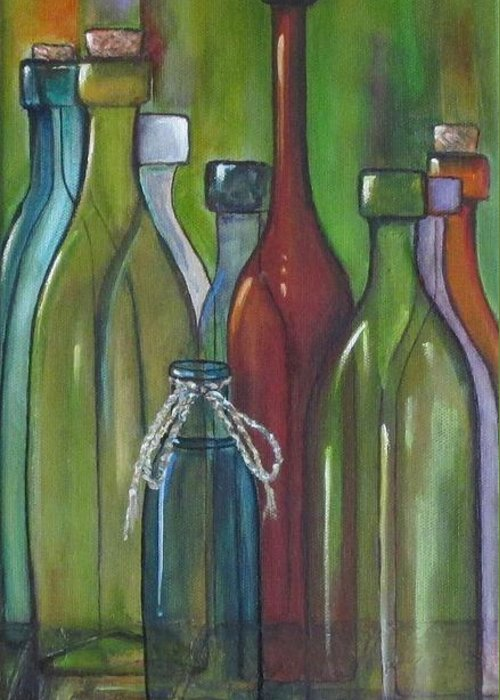 Bottles Greeting Card featuring the painting Colorful Bottles by Judy Lybrand