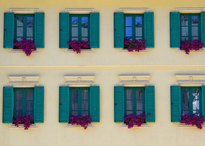 Architectural Detail Greeting Card featuring the photograph Colorful Building by David Buffington
