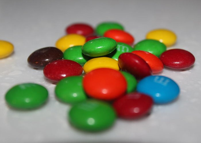 M&ms Greeting Card featuring the photograph Colorful Candies by Jennifer Gillis