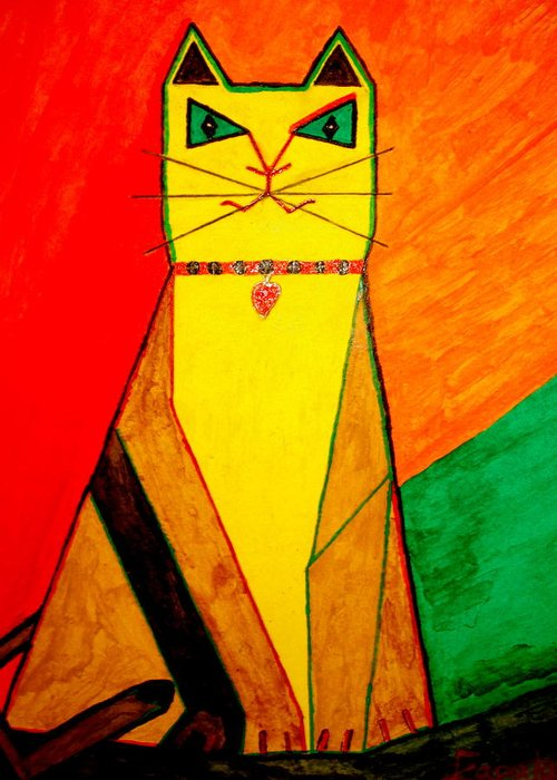 Figurative Cat Greeting Card featuring the painting Colorful Cat by Felix Zapata