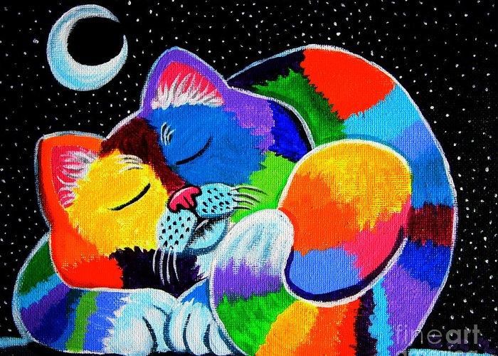 Cat Art Greeting Card featuring the painting Colorful Cat In The Moonlight by Nick Gustafson