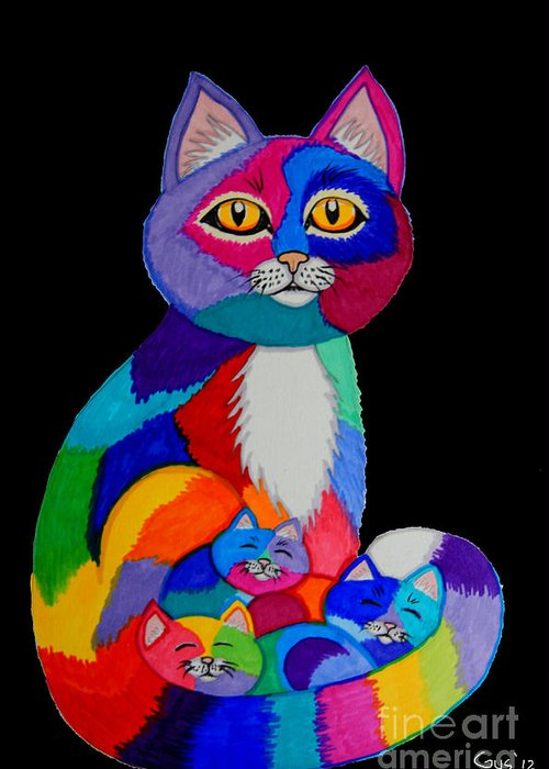 Cats Greeting Card featuring the drawing Colorful Cats And Kittens by Nick Gustafson