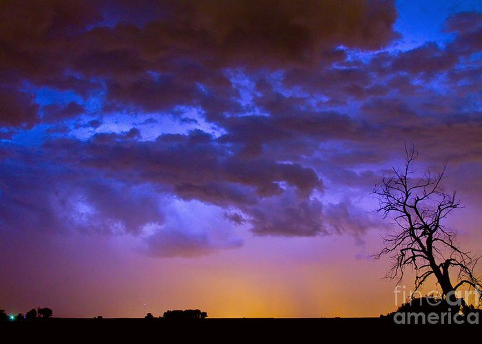 Bouldercounty Greeting Card featuring the photograph Colorful Cloud To Cloud Lightning by James BO Insogna