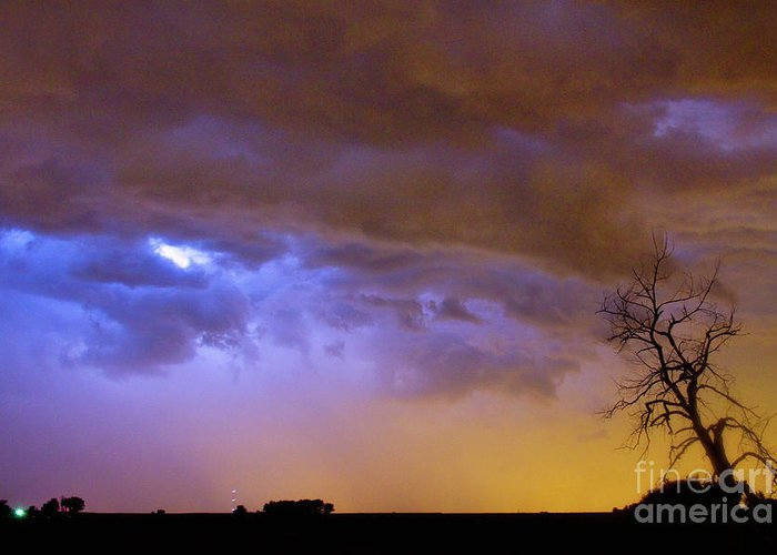 Weld County Greeting Card featuring the photograph Colorful Cloud To Cloud Lightning Stormy Sky by James BO Insogna