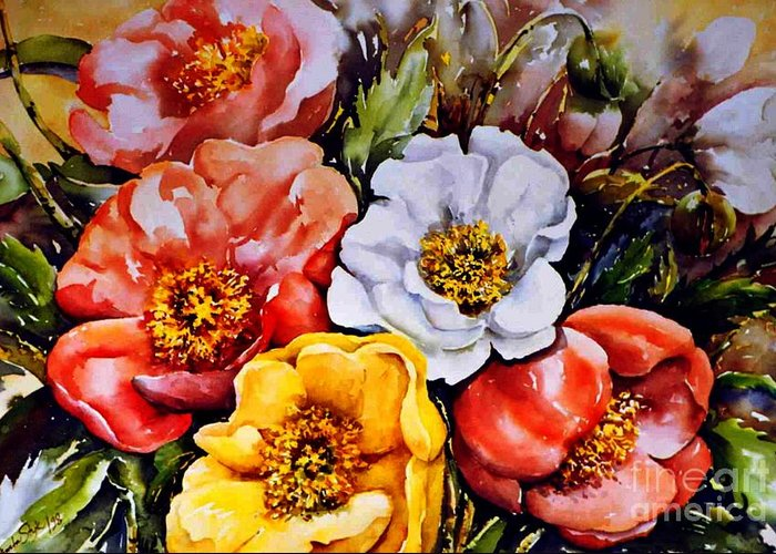 Beauty Of Flower Greeting Card featuring the painting Colorful Corner 1 by Marta Styk