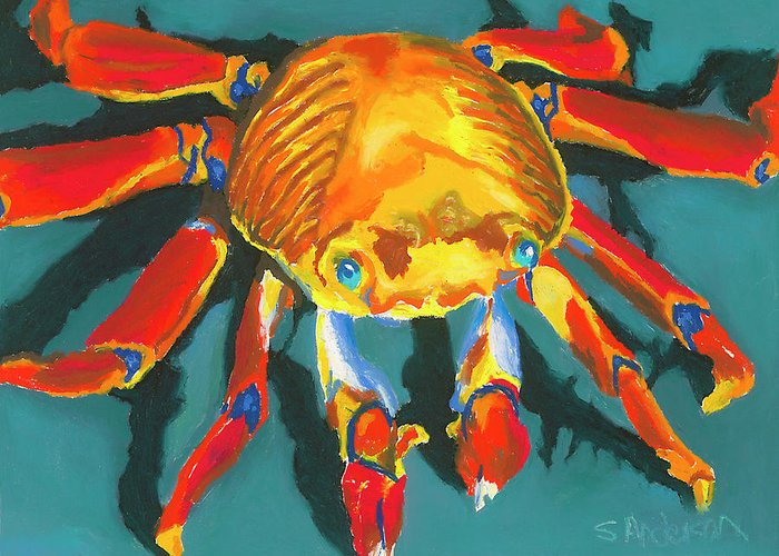 Crab Greeting Card featuring the painting Colorful Crab II by Stephen Anderson