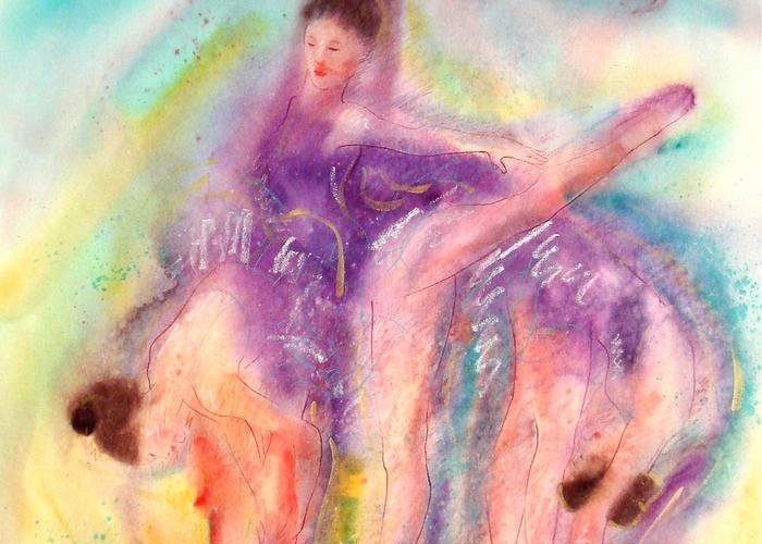 Ballet Art Greeting Card featuring the painting Colorful Dance by John YATO