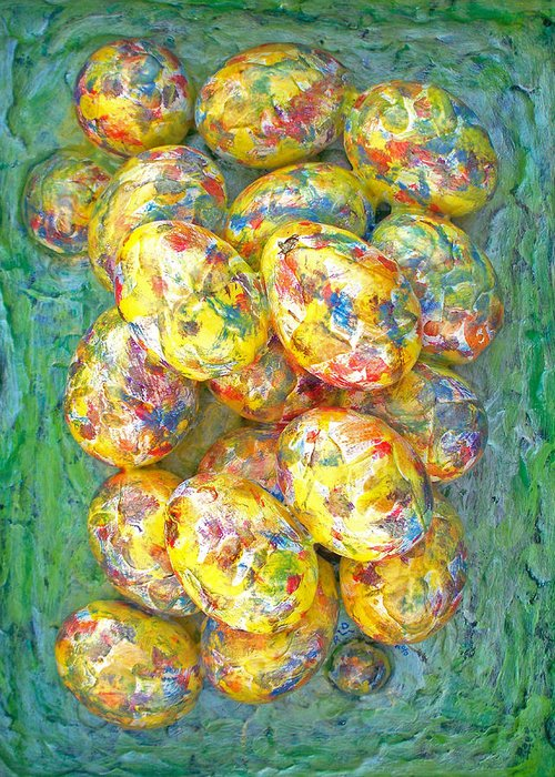 Art Greeting Card featuring the painting Colorful Eggs by Carl Deaville