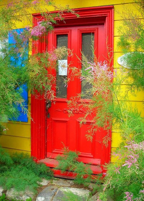 Color Greeting Card featuring the photograph Colorful Entrance ... by Juergen Weiss
