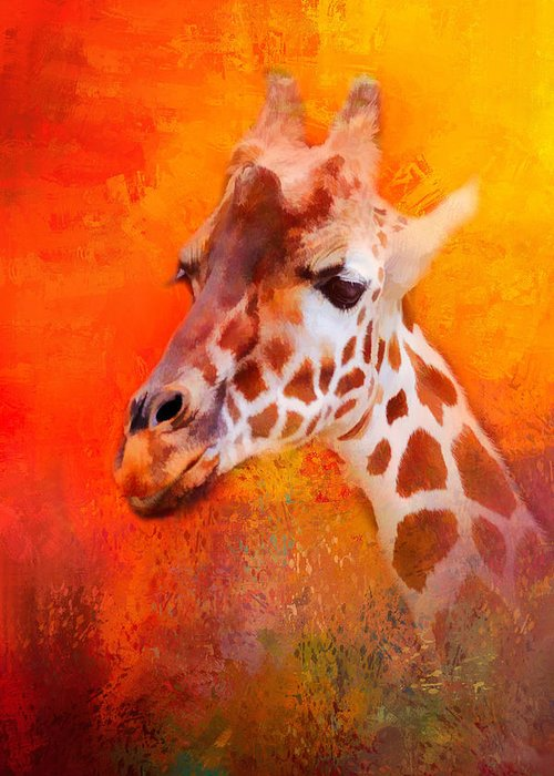 Jai Johnson Greeting Card featuring the photograph Colorful Expressions Giraffe by Jai Johnson