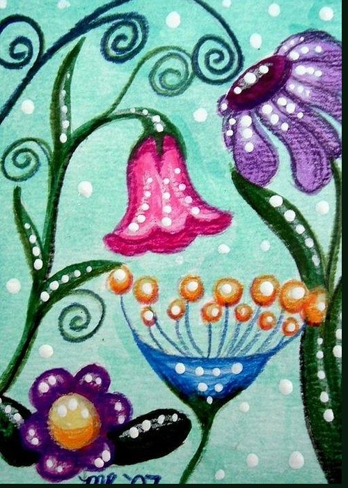 Floral Greeting Card featuring the painting Colorful Flowers by Monica Resinger