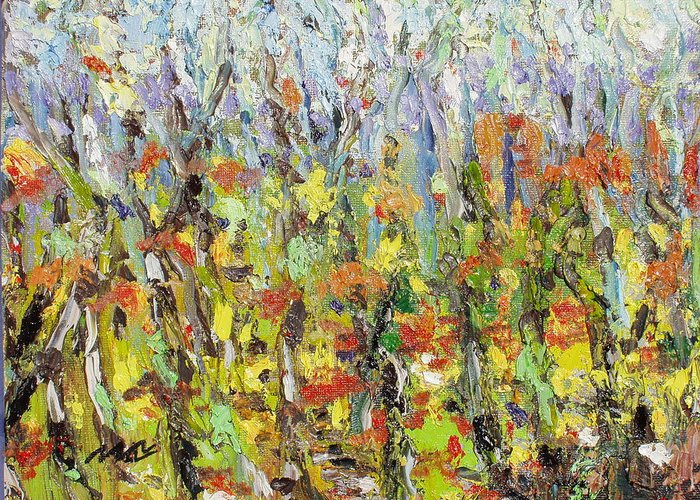 Autumn Abstract Paintings Greeting Card featuring the painting Colorful Forest by Seon-Jeong Kim