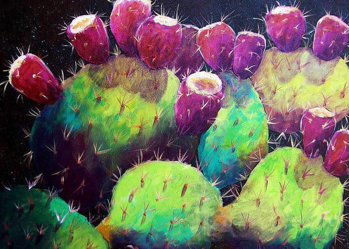 Cactus Greeting Card featuring the painting Colorful Fruit by Candy Mayer