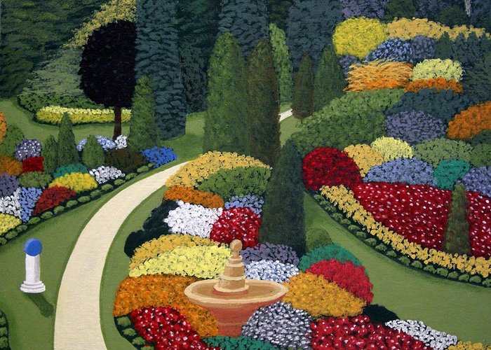 Landscape Paintings Greeting Card featuring the painting Colorful Garden by Frederic Kohli