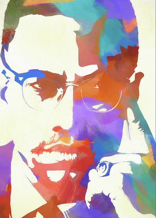Colorful Malcolm X Greeting Card featuring the painting Colorful Malcolm X by Dan Sproul
