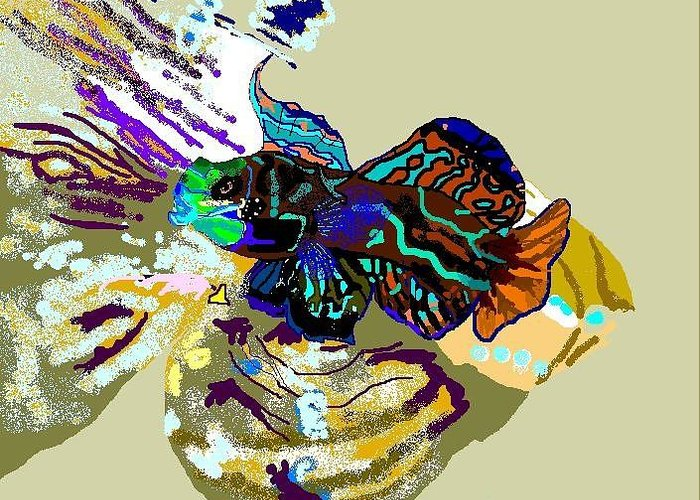 Saltwater Fish Greeting Card featuring the digital art Colorful Manderin Fish by Robert Rodriguez