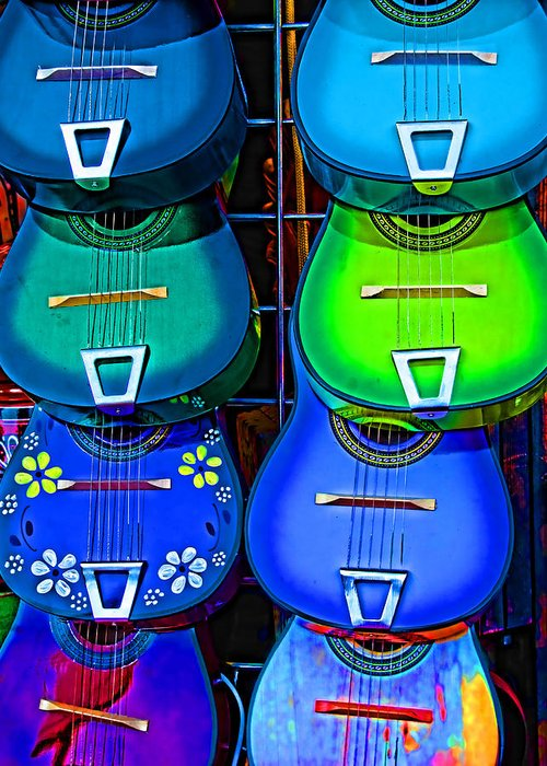 Guitars Greeting Card featuring the photograph Colorful Mexican Guitars by Helaine Cummins